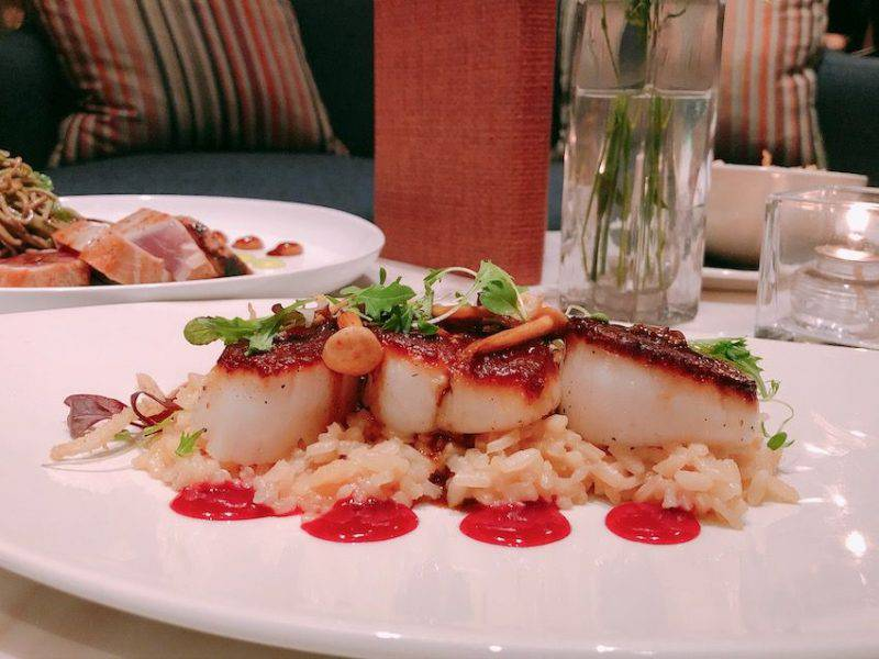 Seared Scallops with Mushroom Risotto
