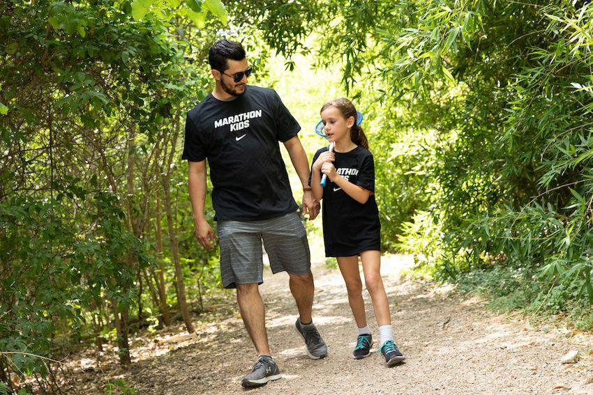 father and daughter walk and talk challenge