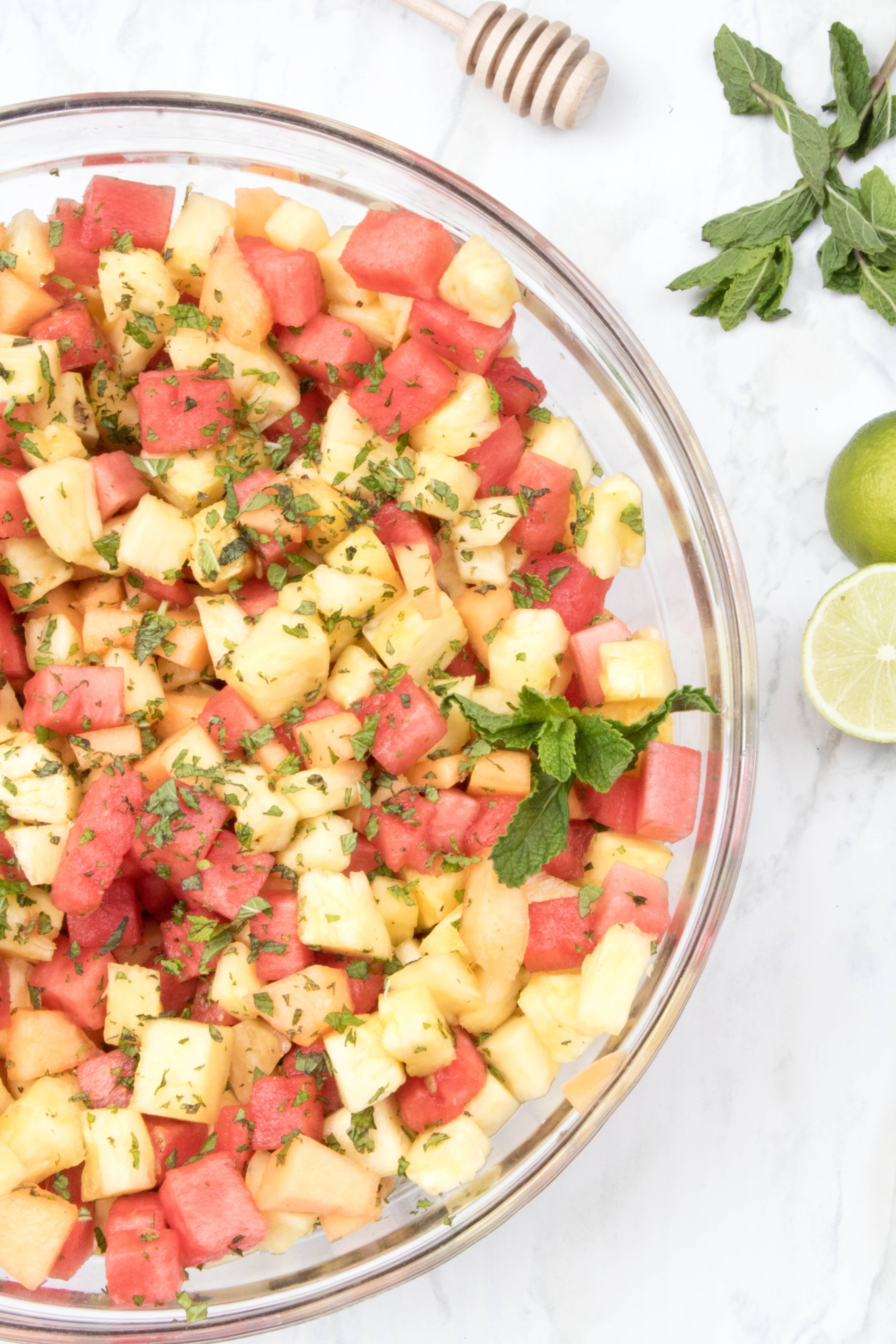 Pineapple Melon Mint Salad