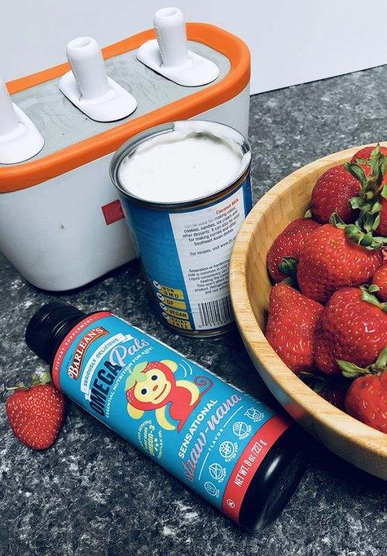 ingredients for strawberry cream popsicles