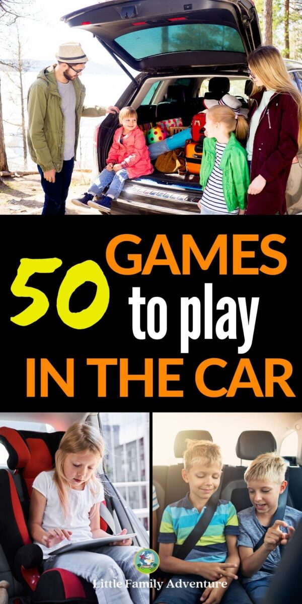 family playing games in car