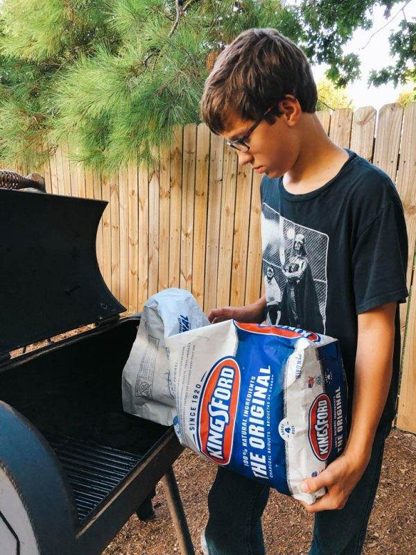 Kingsford Charcoal and getting grill ready