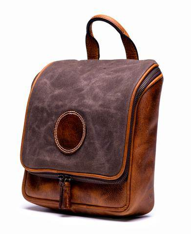 Full Grain Leather & Waxed Canvas Hanging Toiletry Kit