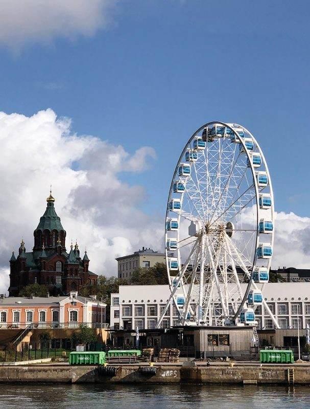 Helsinki sky wheel and architecture