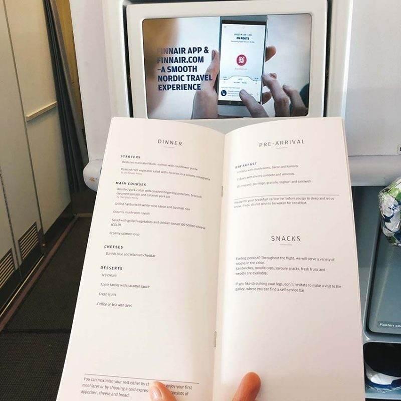 Finnair Business Class Dinner Menu