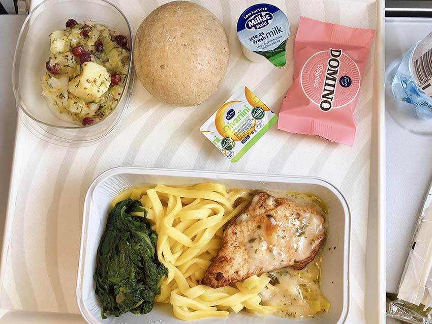 Chicken pasta in-flight meal