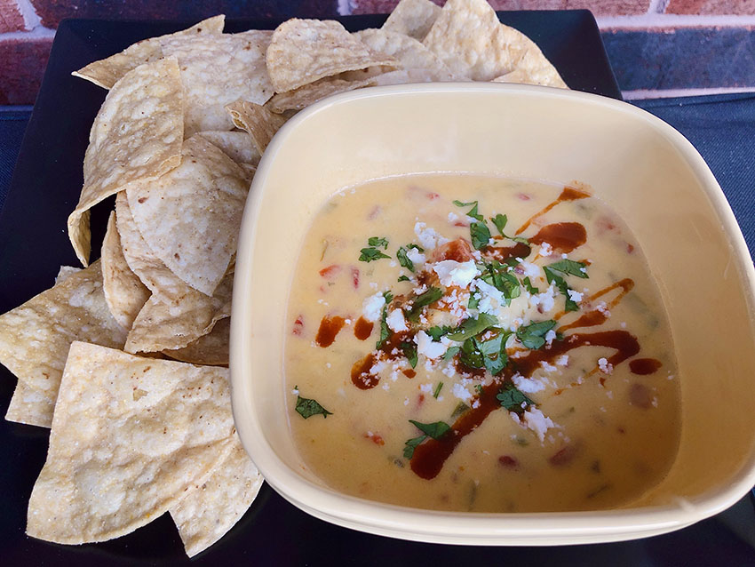 Queso Dip with tortilla chips