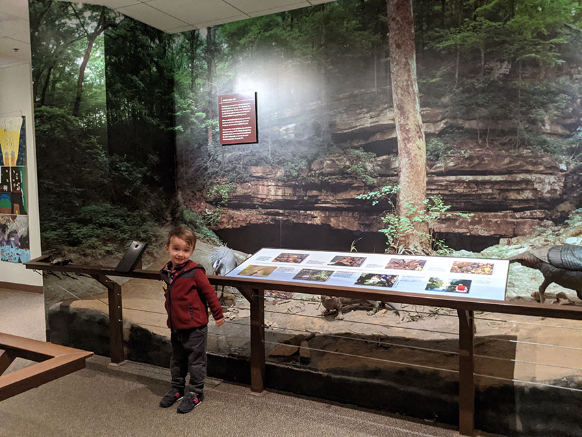mammoth cave visitor center display and little boy