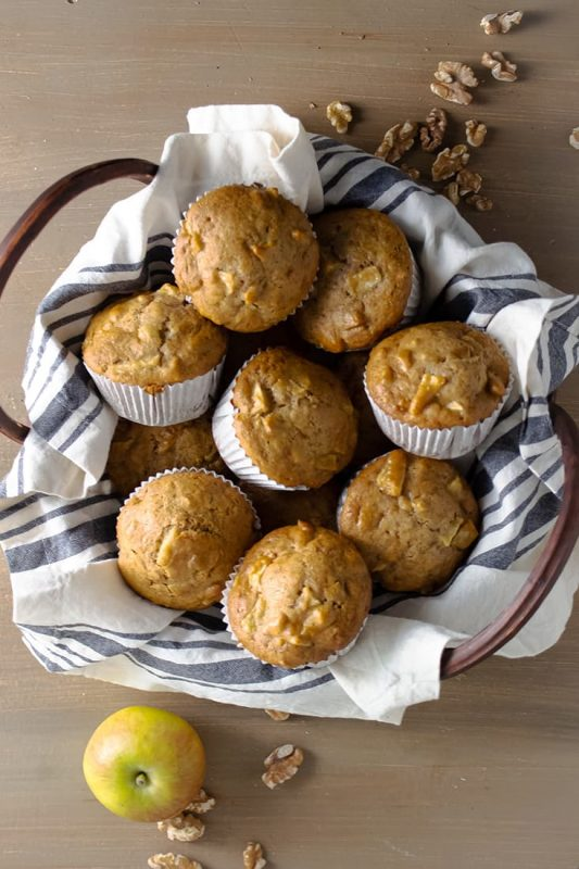 basket of apple muffins