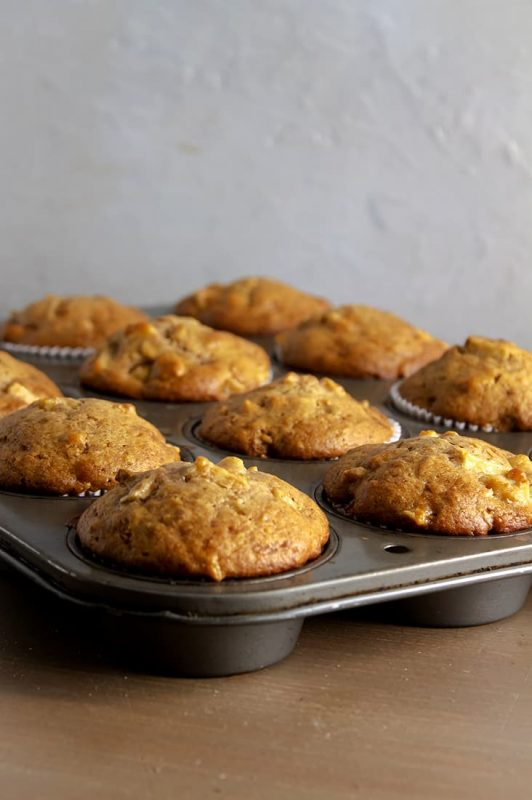 Apple muffins in tin