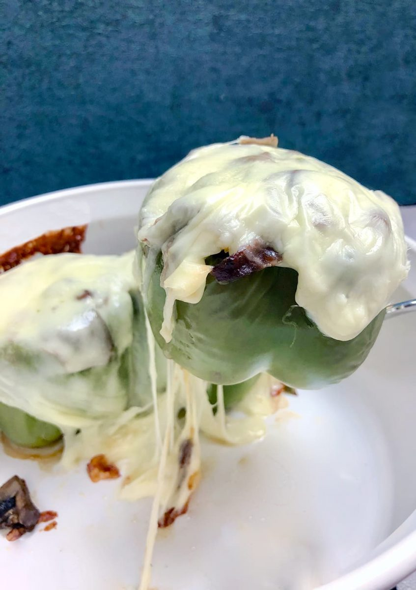 Stuffed Bell Peppers topped with cheese