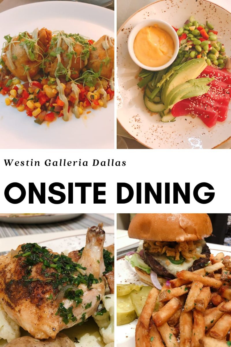Westin Galleria Dallas food options - tuna poke, croquettes, burger, chicken