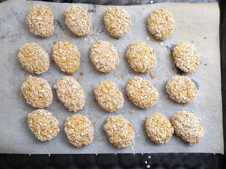 chickpea nuggets on baking sheet