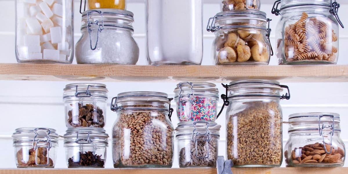 pantry staples in jars