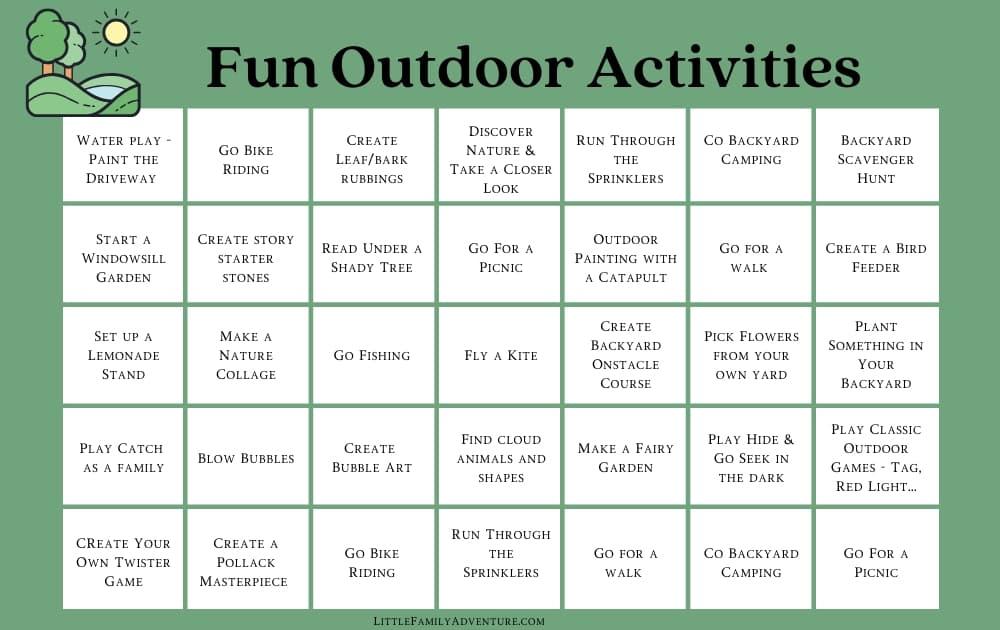 fun outdoor activitie calender