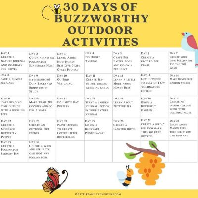 30 Buzzworthy Outdoor Activities for Kids +FREE printable