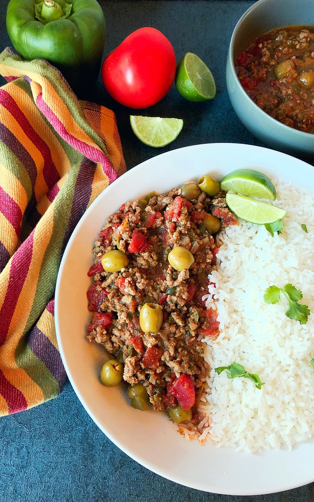 Ground Beef Picadillo with rice