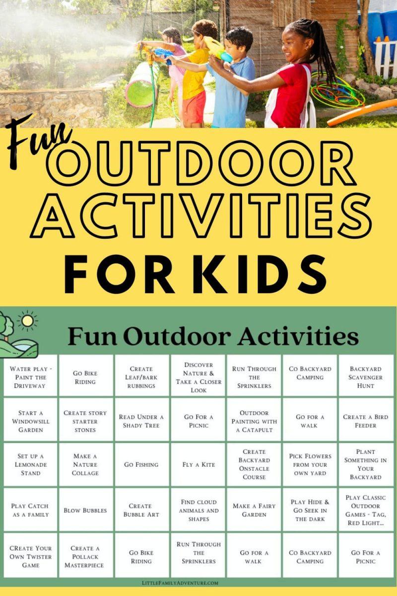 Fun outdoor activities for kids graphic