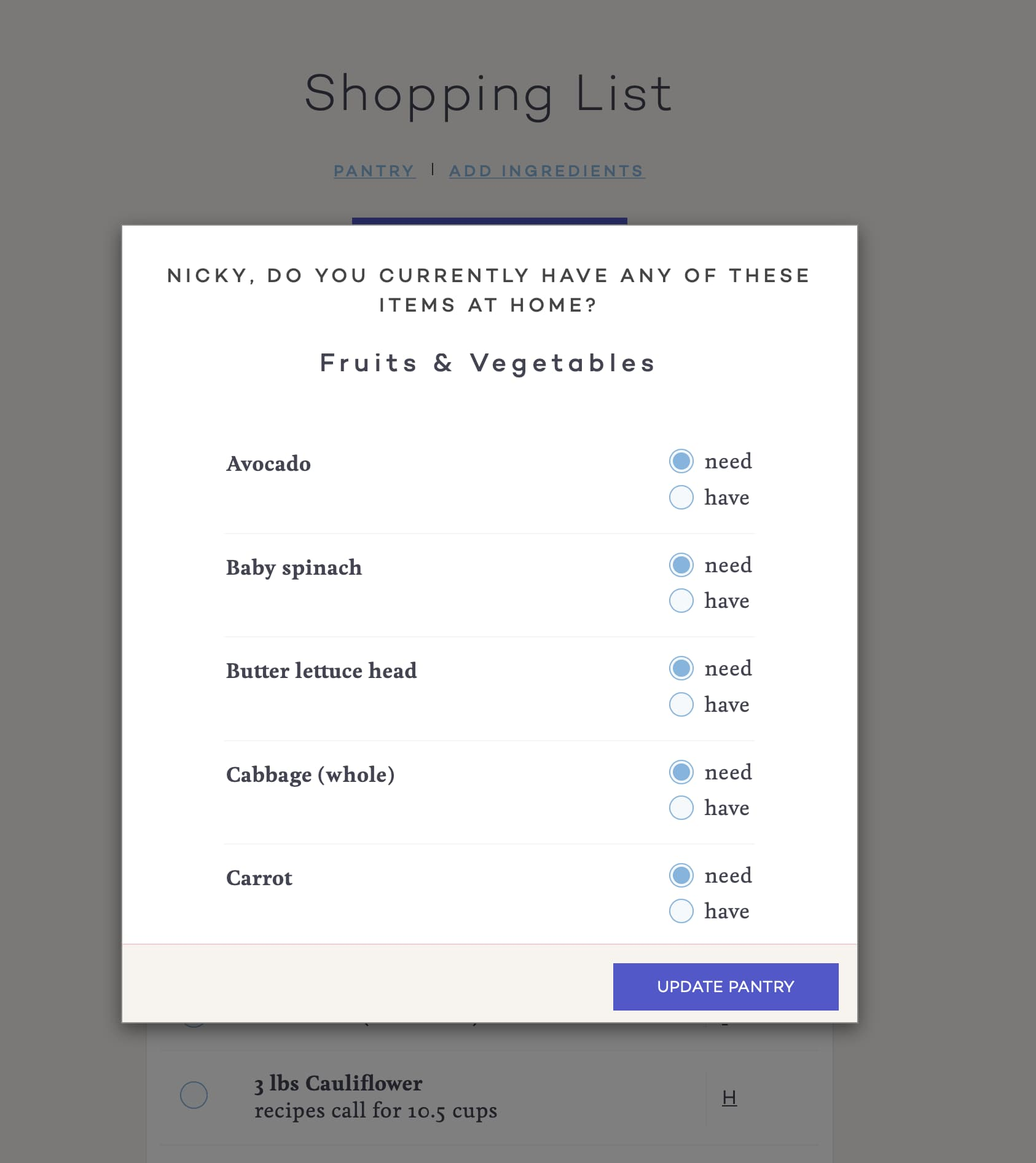 PlateJoy Grocery List