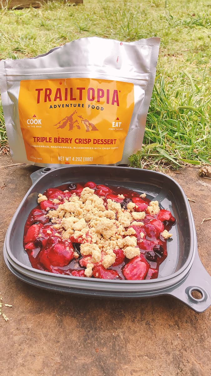 triple berry crisp dessert pouch and finished in a bowl