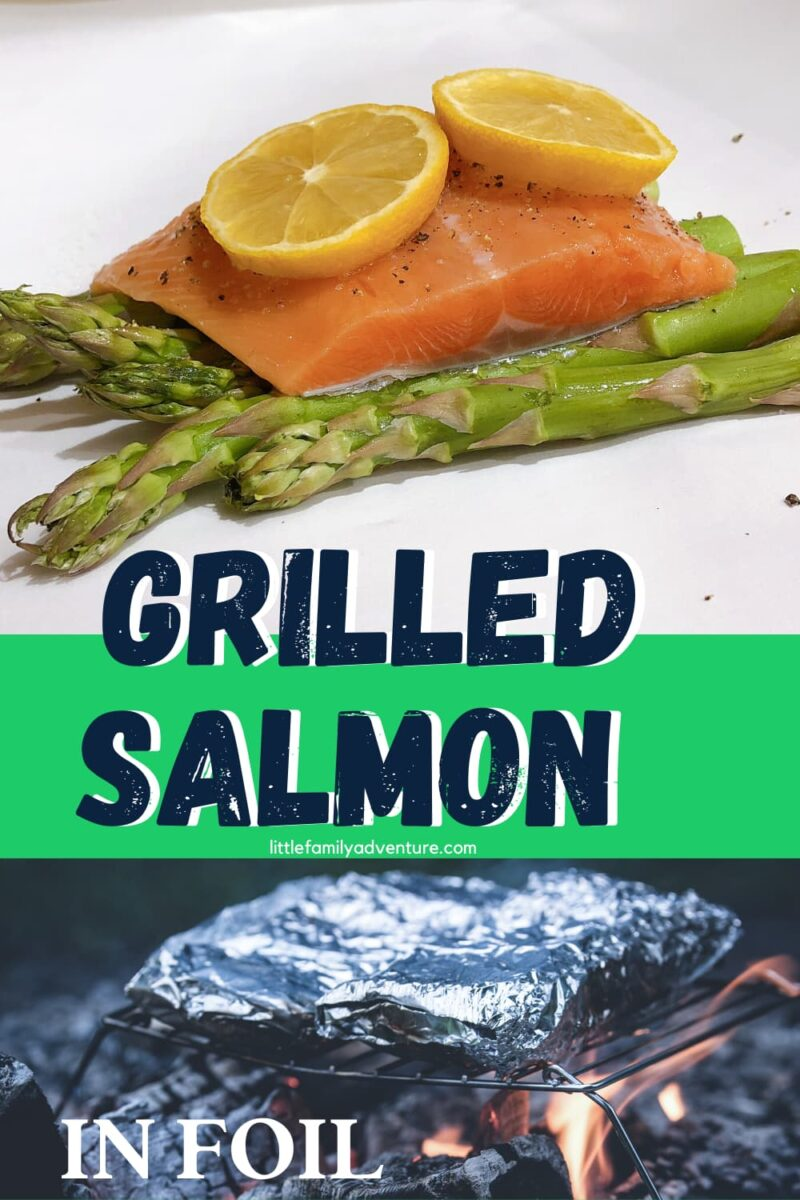 Grilled Salmon in foil with asparagus