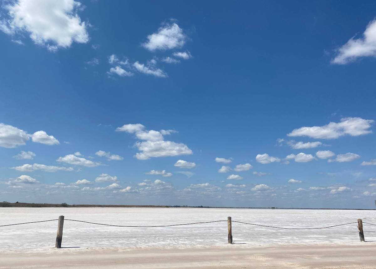 salt plains Oklahoma, blue sky with clouds