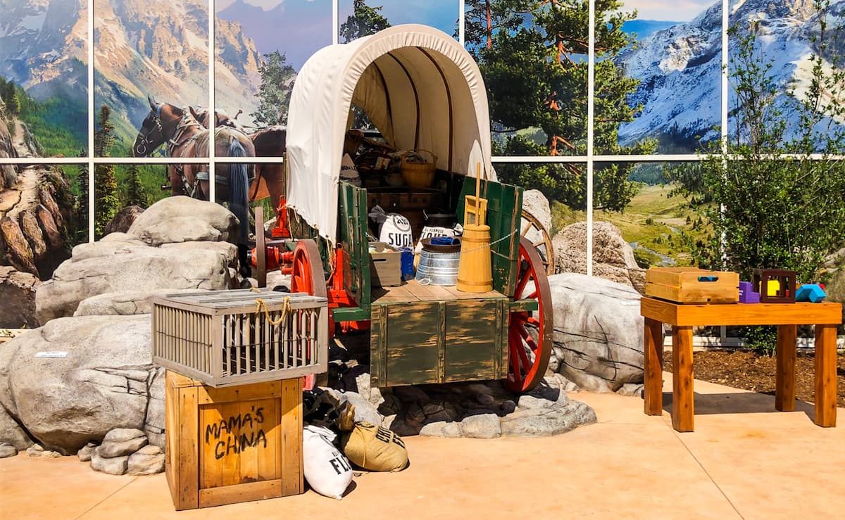 covered wagon with supplies