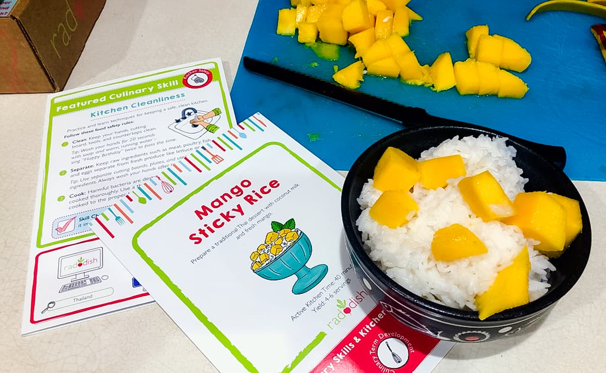 mango sticky recipe with recipe card