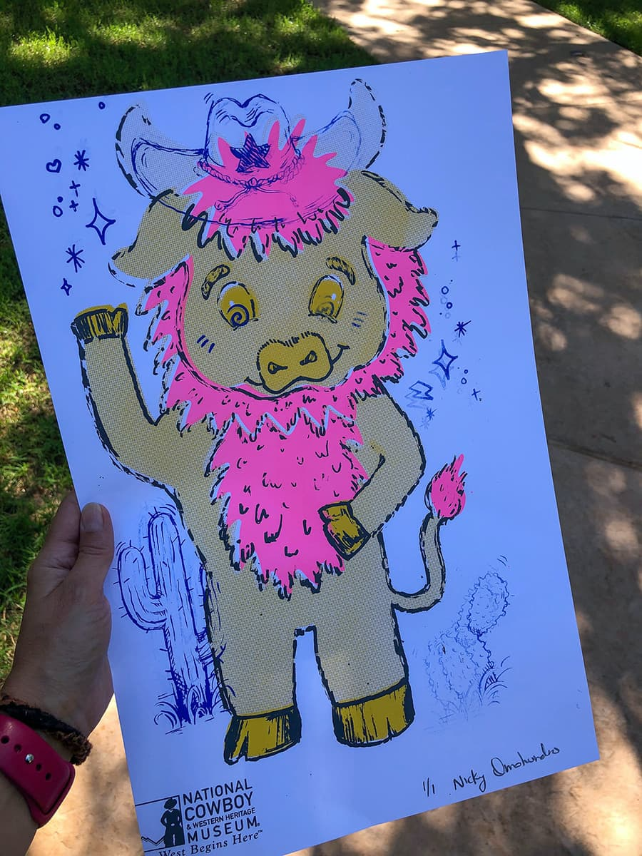 screen print of cartoon bison