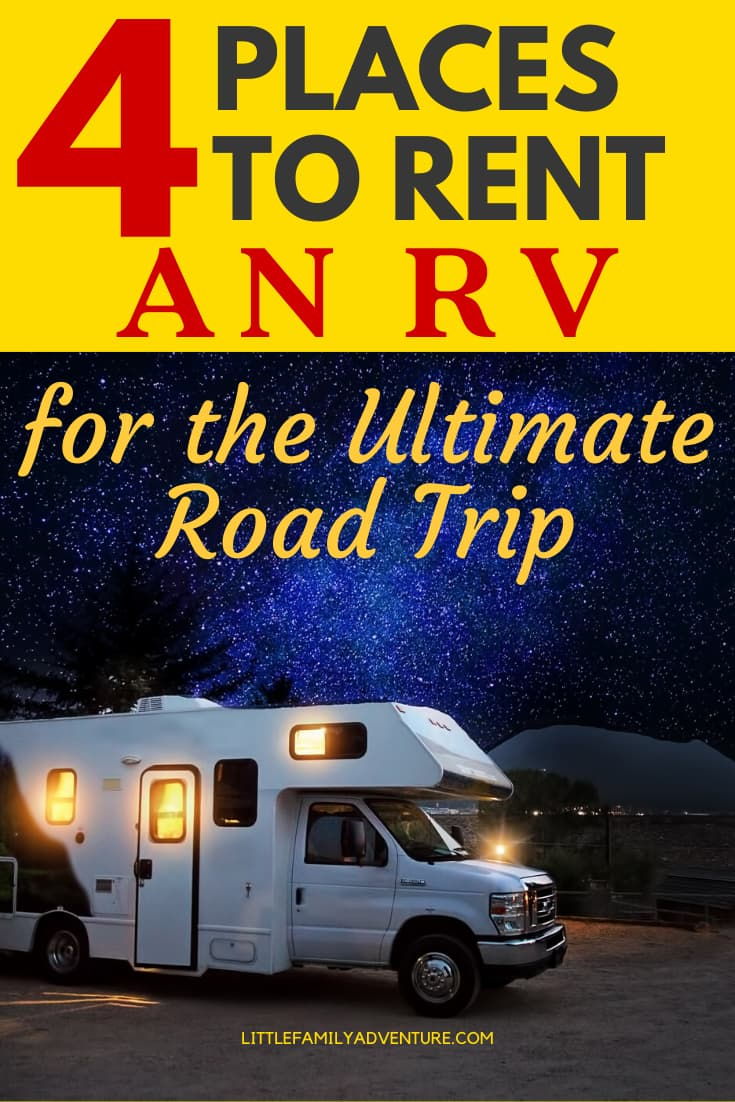 places to rent an rv graphic - rv under starry sky