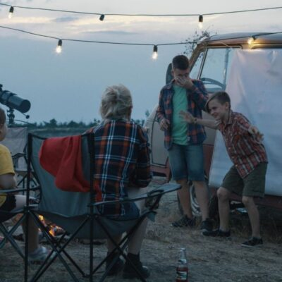 family beach camping at dush