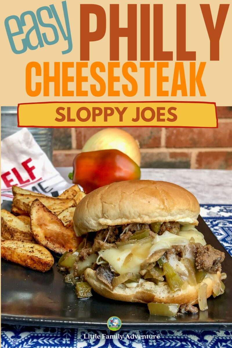 easy Philly cheesesteak sloppy joes on a plate