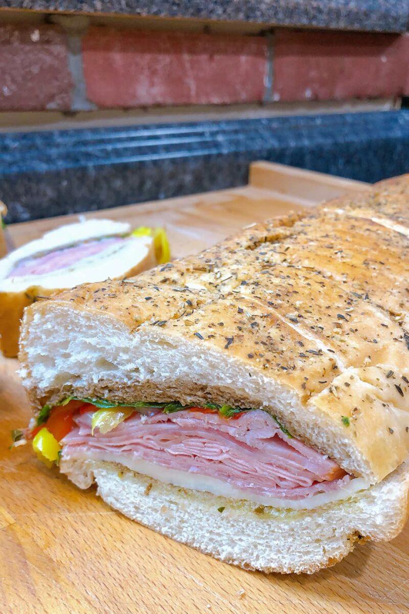 sandwich on cutting board
