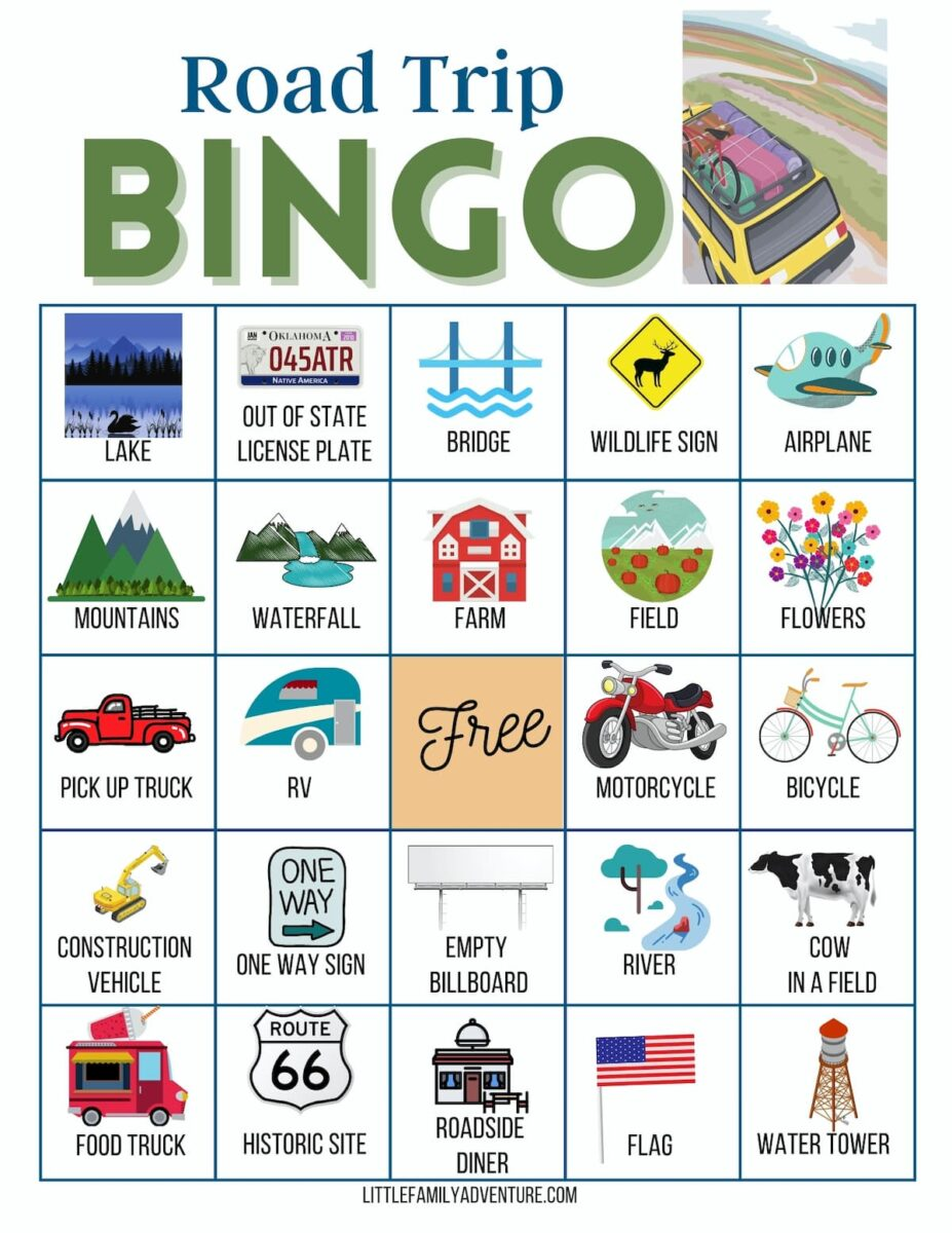 road trip bingo card