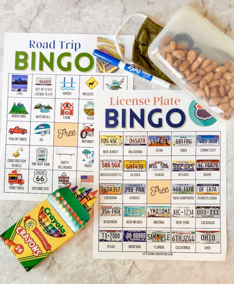 road trip bingo cards on a table wot crayons and snack