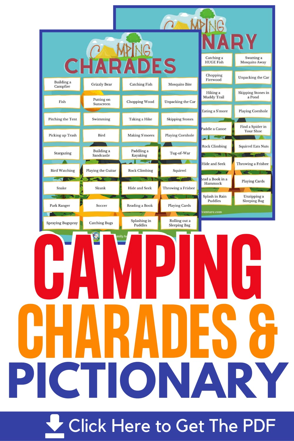 camping themed word prompts for charades