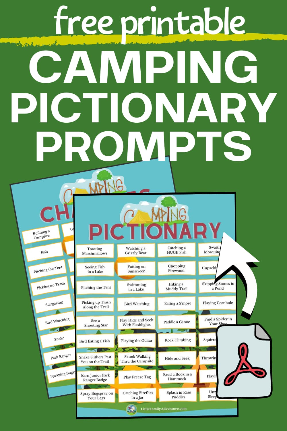 camping themed pictionary prompts printable