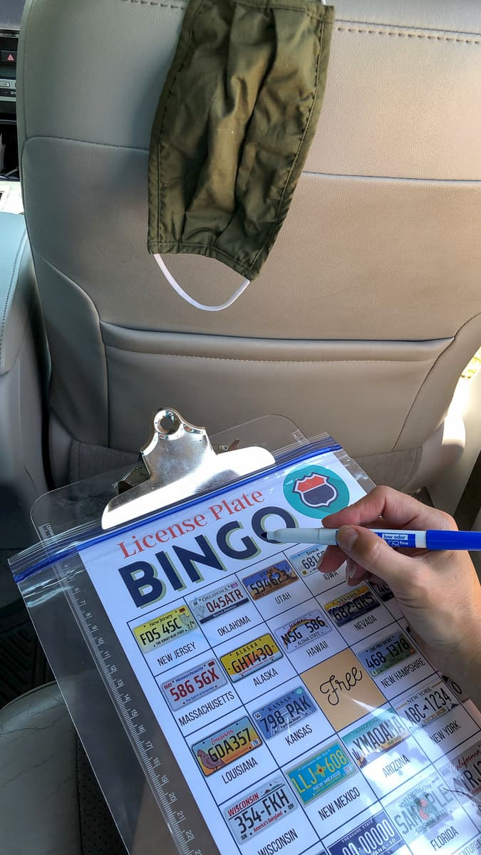 license plate game bingo card being done in car