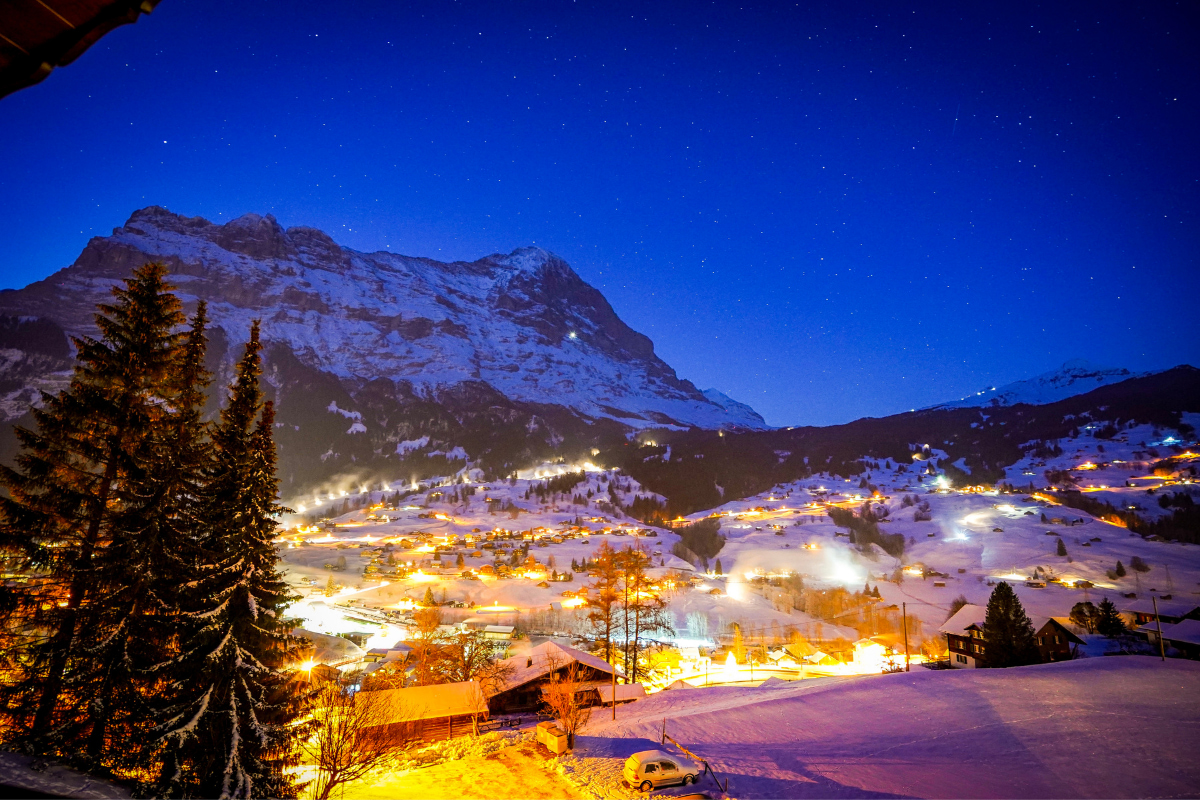 Grindelwald - mountain community at night with lights on