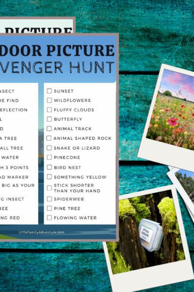 outdoor scavenger hunt with outdoor photos