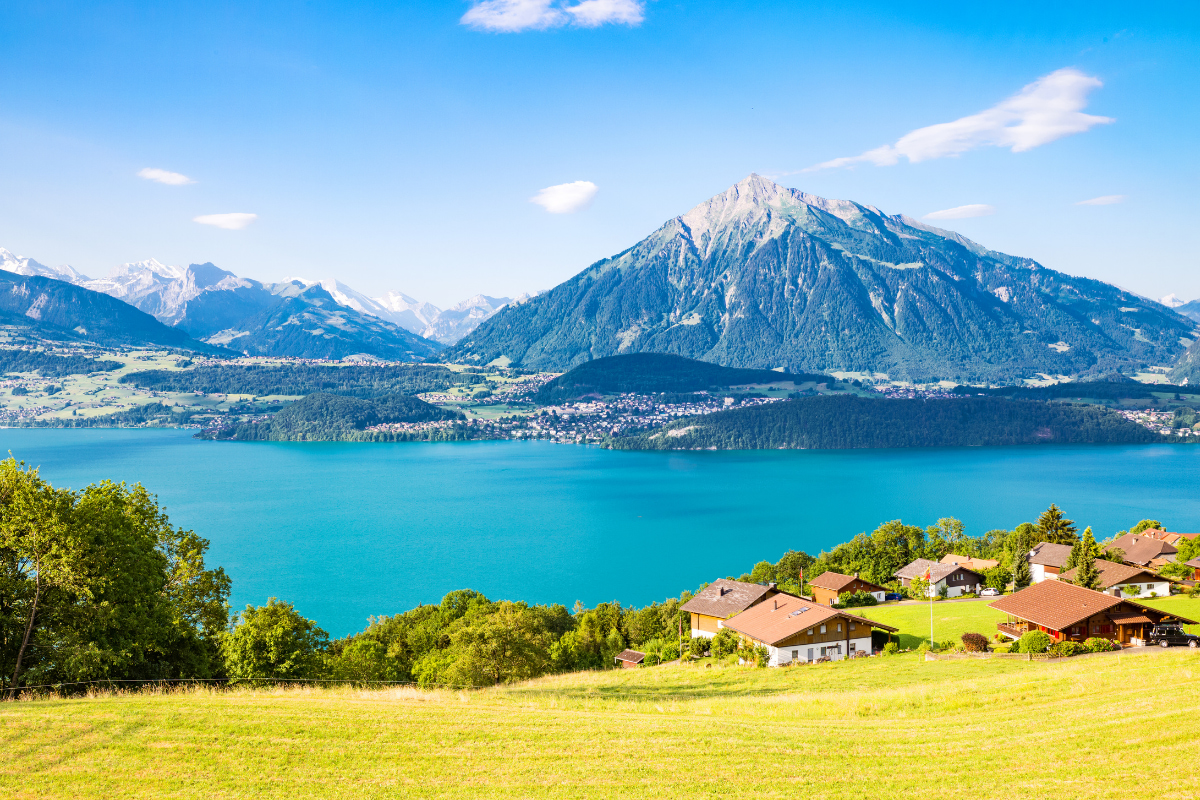 View of Thun Lake from the hills of Merlingen Switzerland