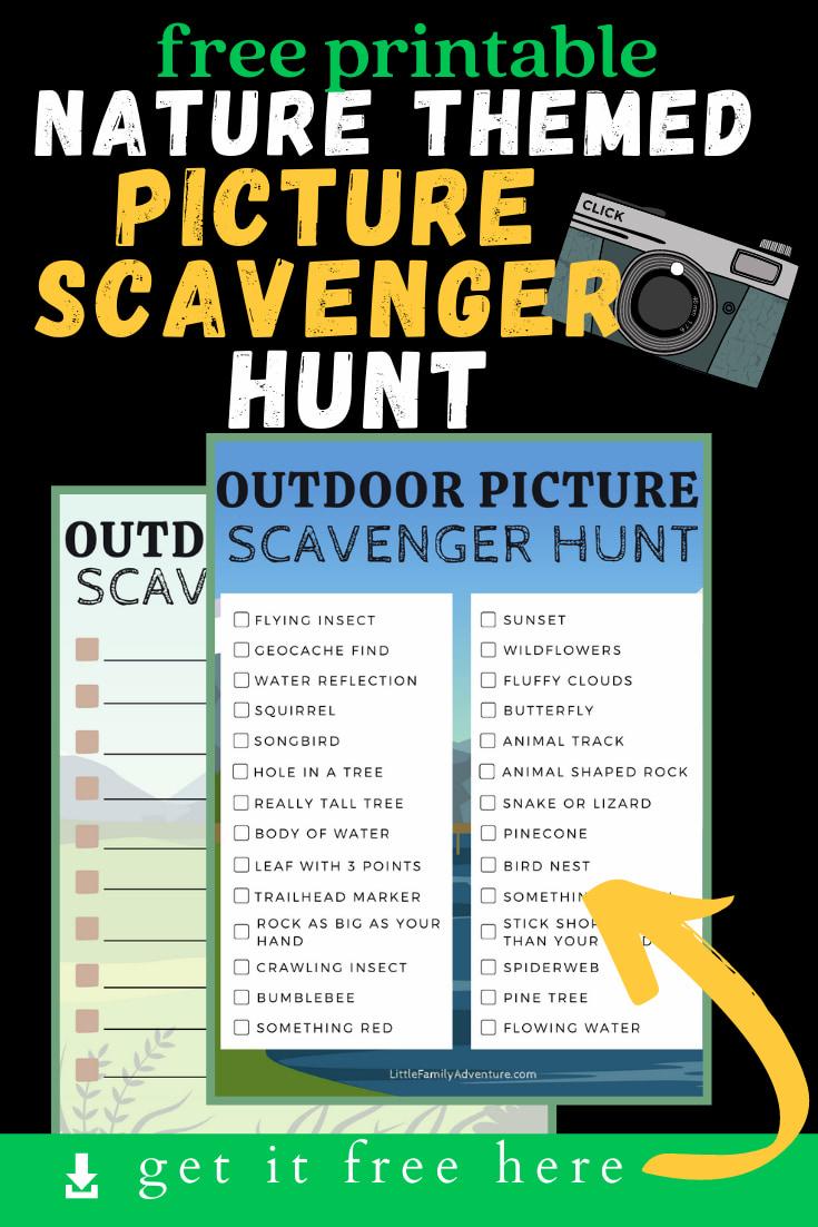 nature themed scavenger hunt printable