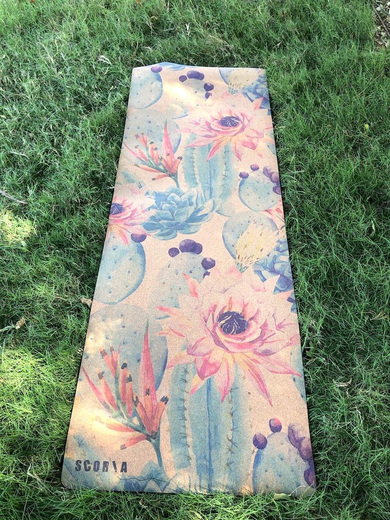 yoga mat on grass