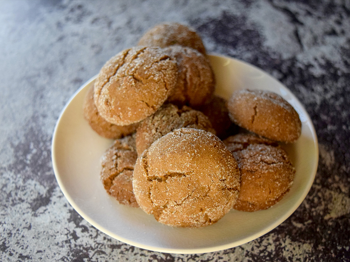 Molasses Crinkle Cookies on a plate