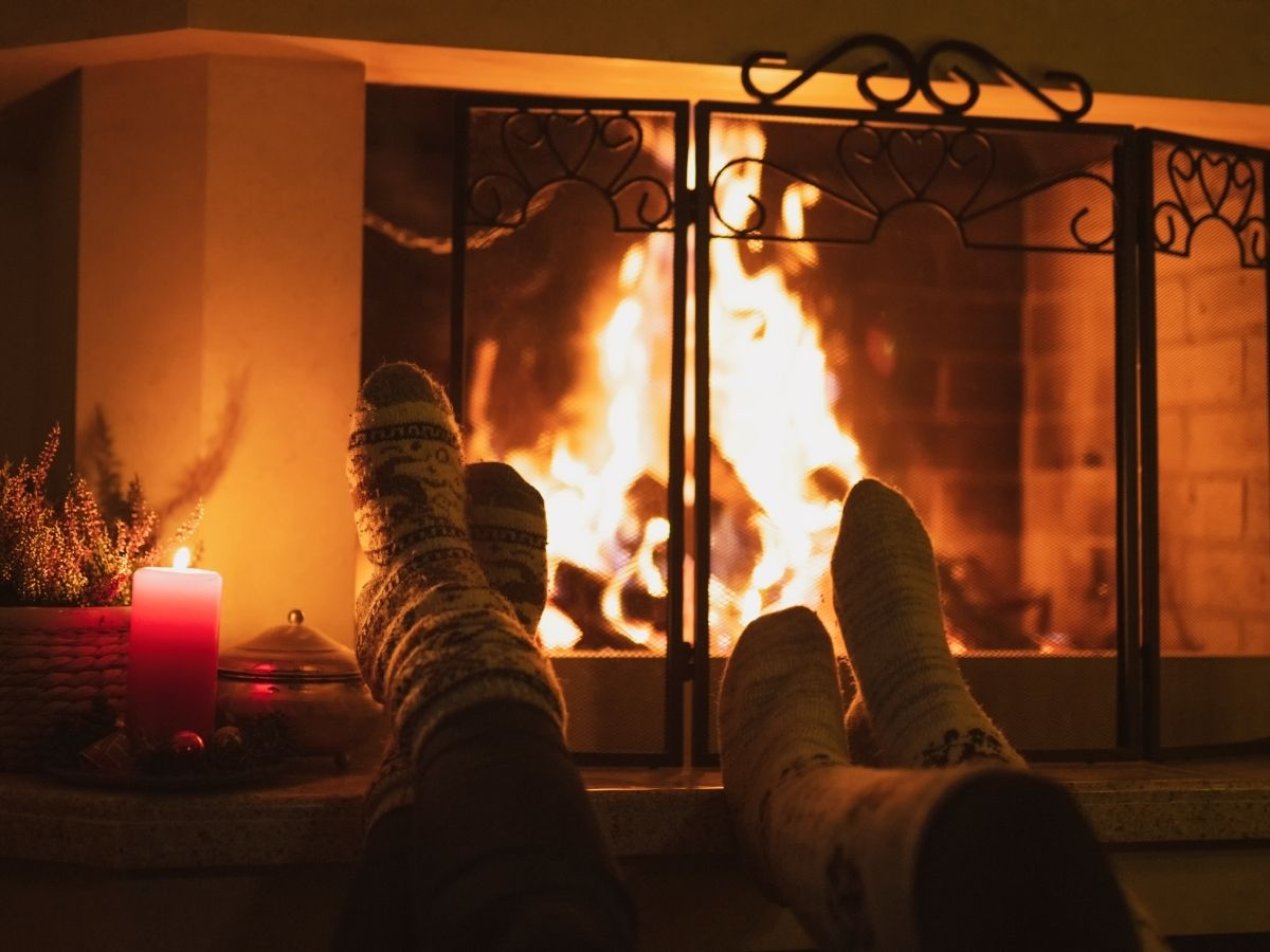 feet up to the fireplace