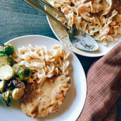 Oktoberfest Smothered Pork Chops & Noodles Recipe