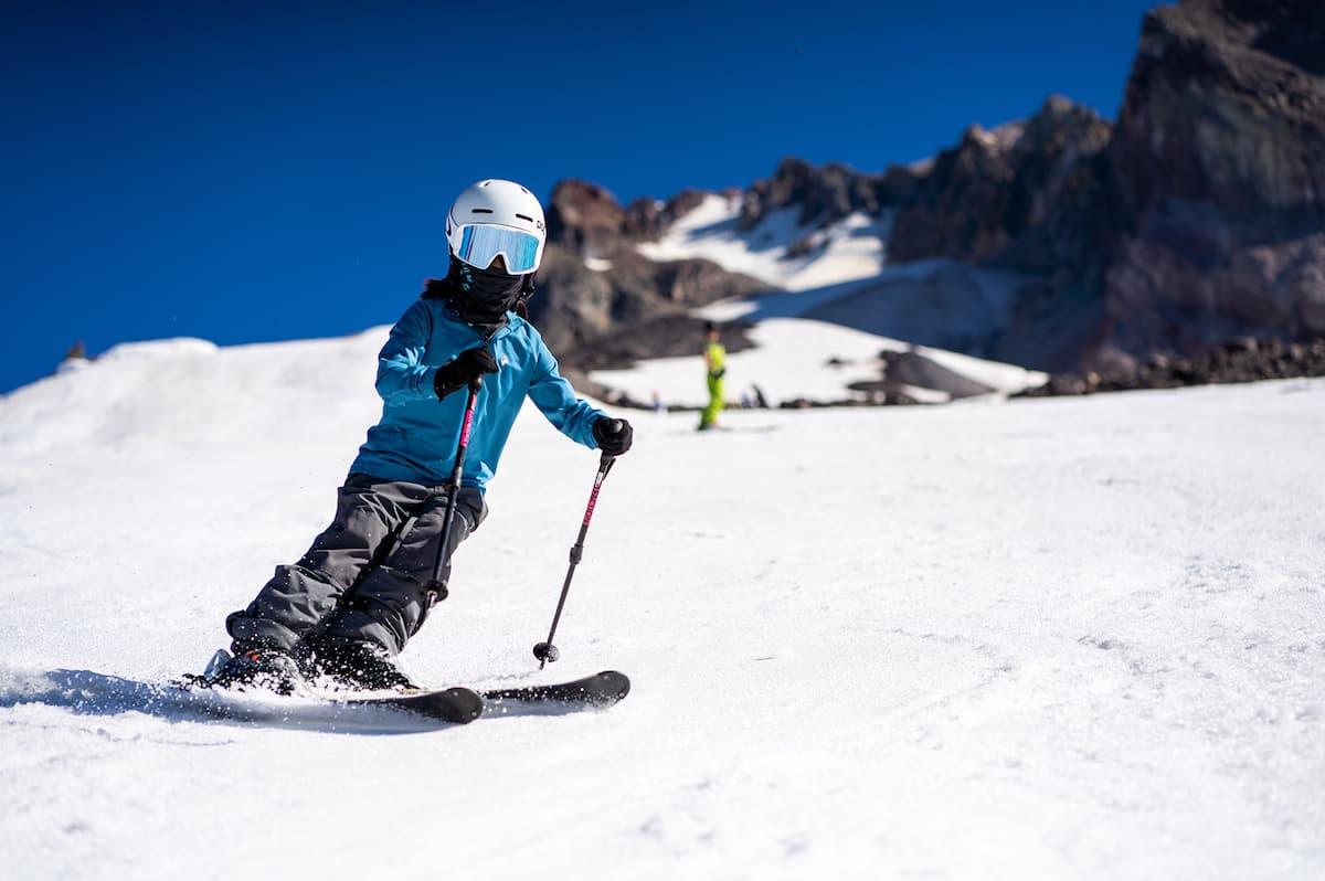 child downhill skiing