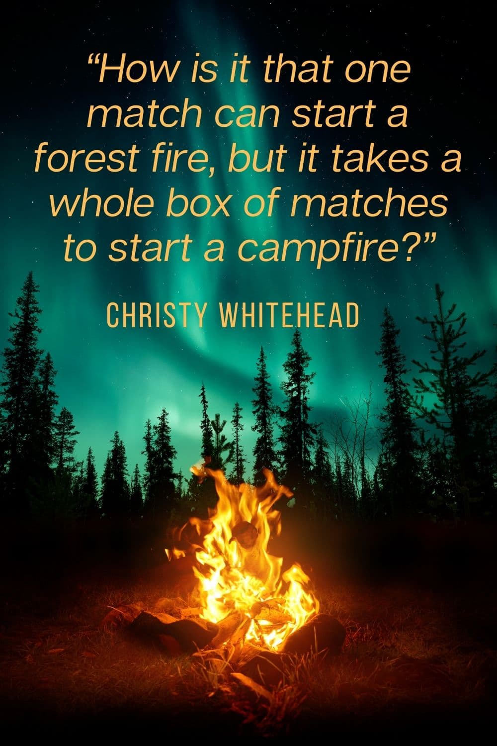 campfire in forest view of Northern Lights - campfire quote