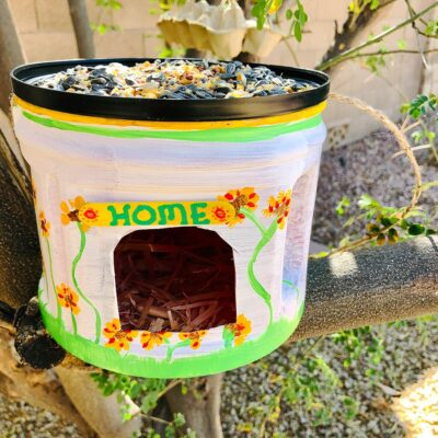 Easy DIY Recycled Plastic Coffee Can Bird Feeder and House