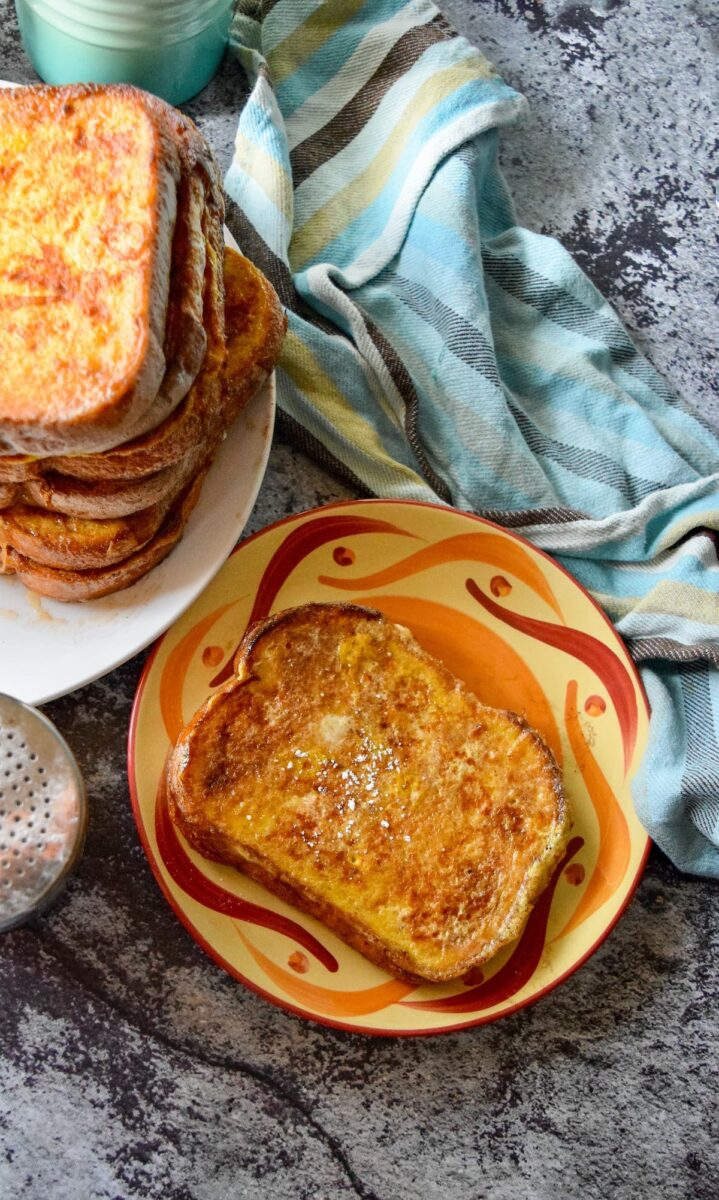french toast on plate and stack
